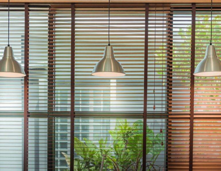 venetian blinds with lights dangling in front